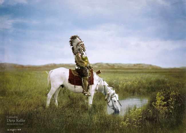 Red Hawk of the Oglala Sioux Tribe on horseback, 1905.
