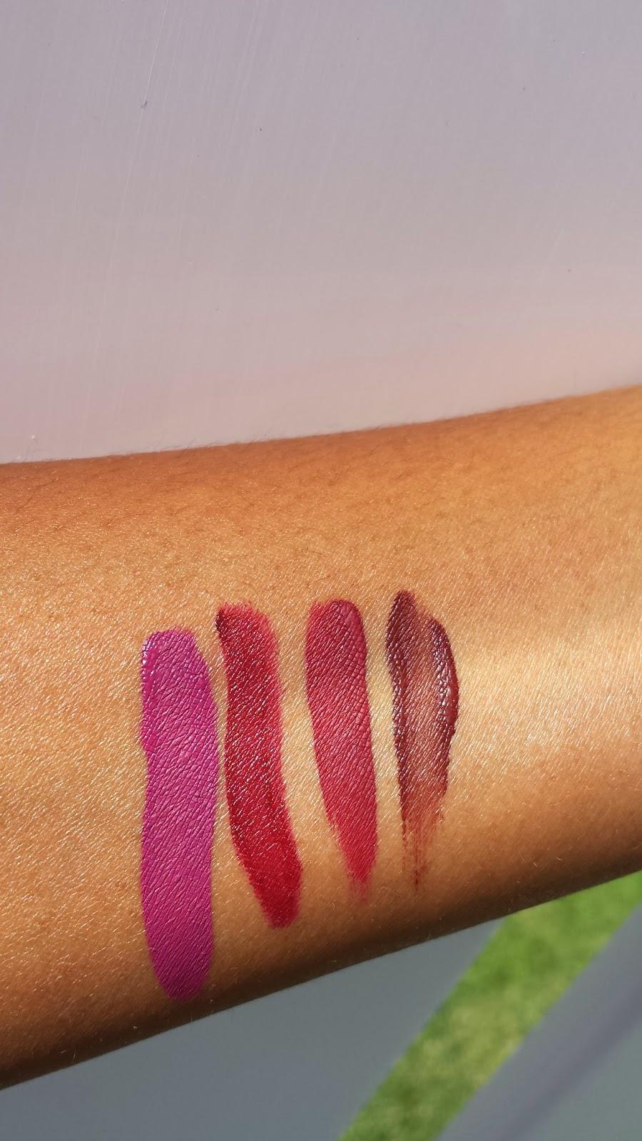 'Berry Me', 'Copenhagen', 'Dahlia' and 'Untamed' swatches www.modenmakeup.com