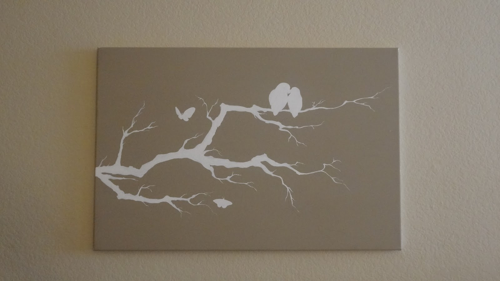 Creating happiness diy bird branch canvas painting Diy canvas painting designs