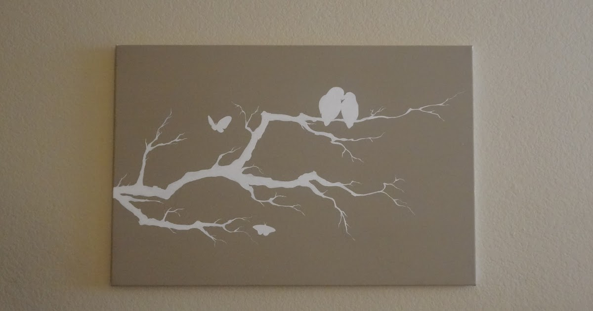 creating happiness diy bird branch canvas painting. Black Bedroom Furniture Sets. Home Design Ideas