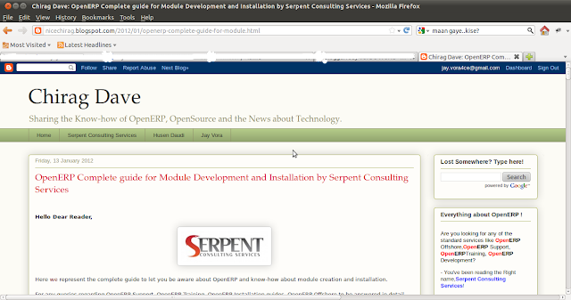 Chirag Dave - OpenERP - Complete guide for Module Development and Installation by Serpent Consulting Services