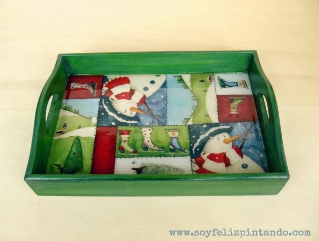 Soy feliz pintando bandeja patchwork de navidad for Bandejas de navidad