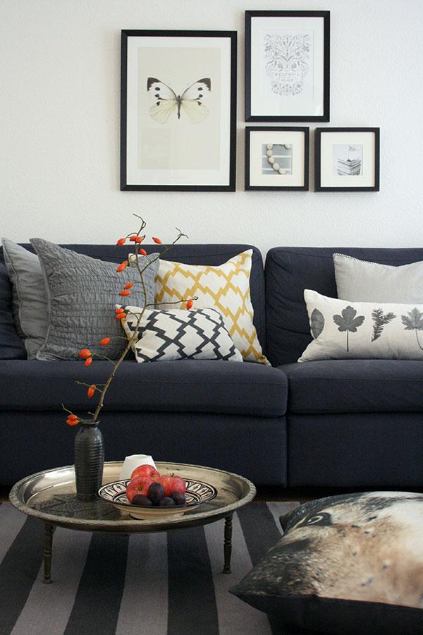 Sofa Couch dunkelgrau blau