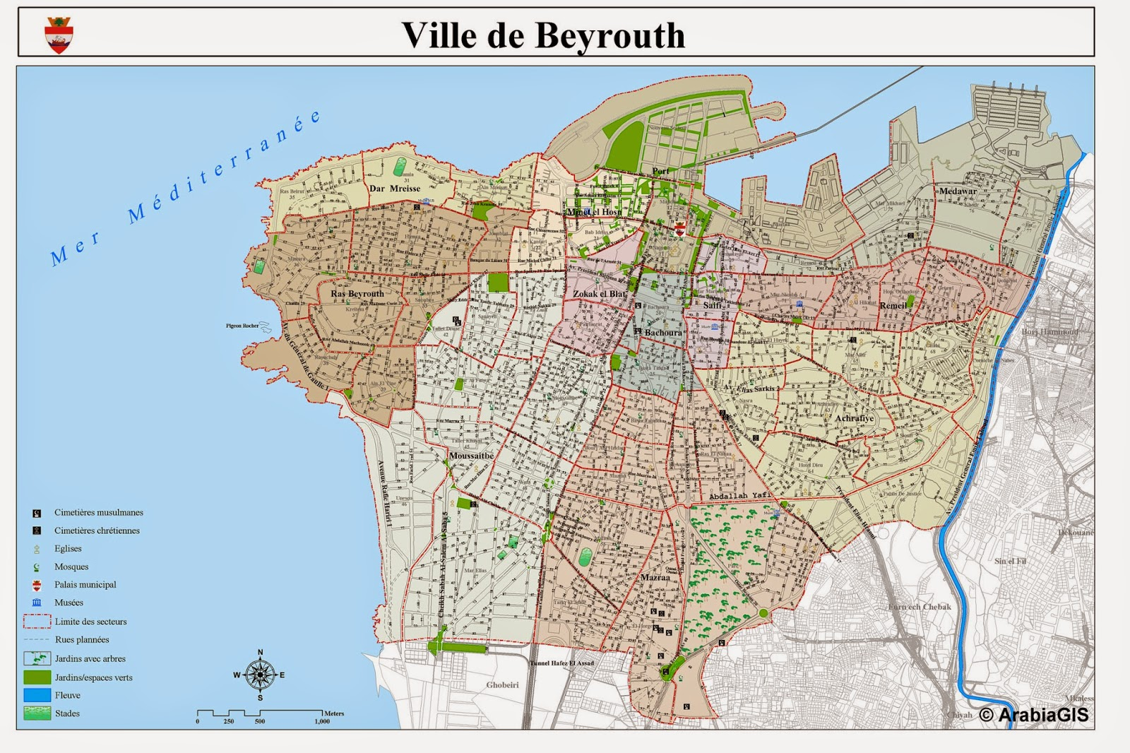 Detailed map of Beirut city Lebanon