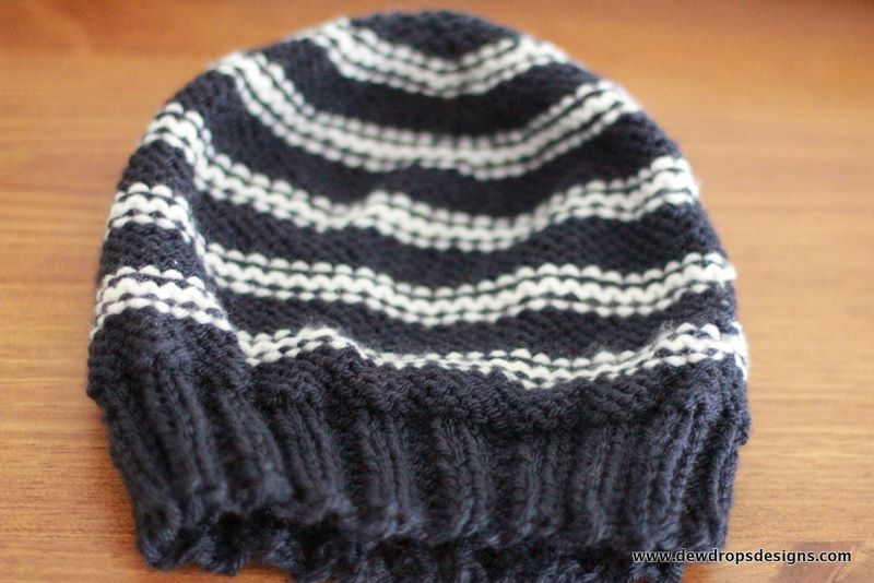 Free Knitting Patterns For Hats In The Round : DewDrops Designs: Mens Hat in Blue and White