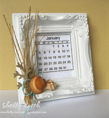 SRM Stickers Blog - Picture Frame Calendar by Shelly - #mini #calendar #twine #gift #2014