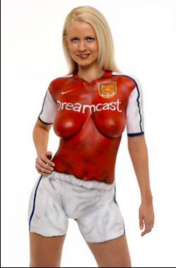 girl full body paint wear English football club shirts