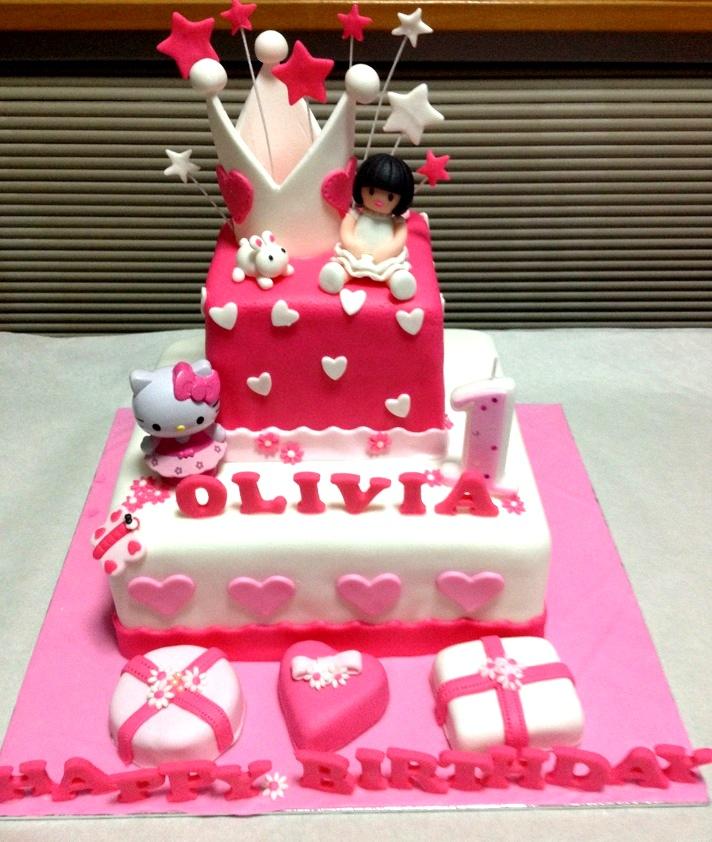 Hello Kitty 1st Birthday Cake Pink Theme Hello Kitty Cake