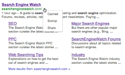 SEW Cached Share Similar Drop Down Google