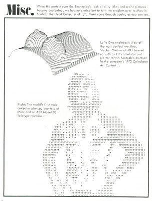 Male Teletype ASCII art pinup and computer plotter breasts U of Minn Technolog, Nov. 1974, p. 30