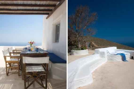terraza con vistas al mar egeo