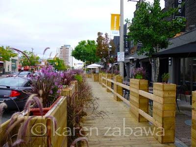 Wooden boardwalk replaces concrete sidewalk, Lakeshhore road, Port Credit
