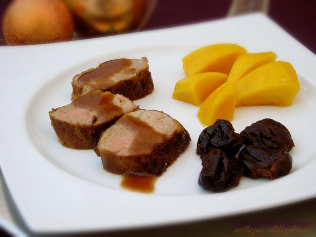 Milhojas solomillo con salsa de oporto y ciruelas pasas - Salsa de oporto para solomillo ...