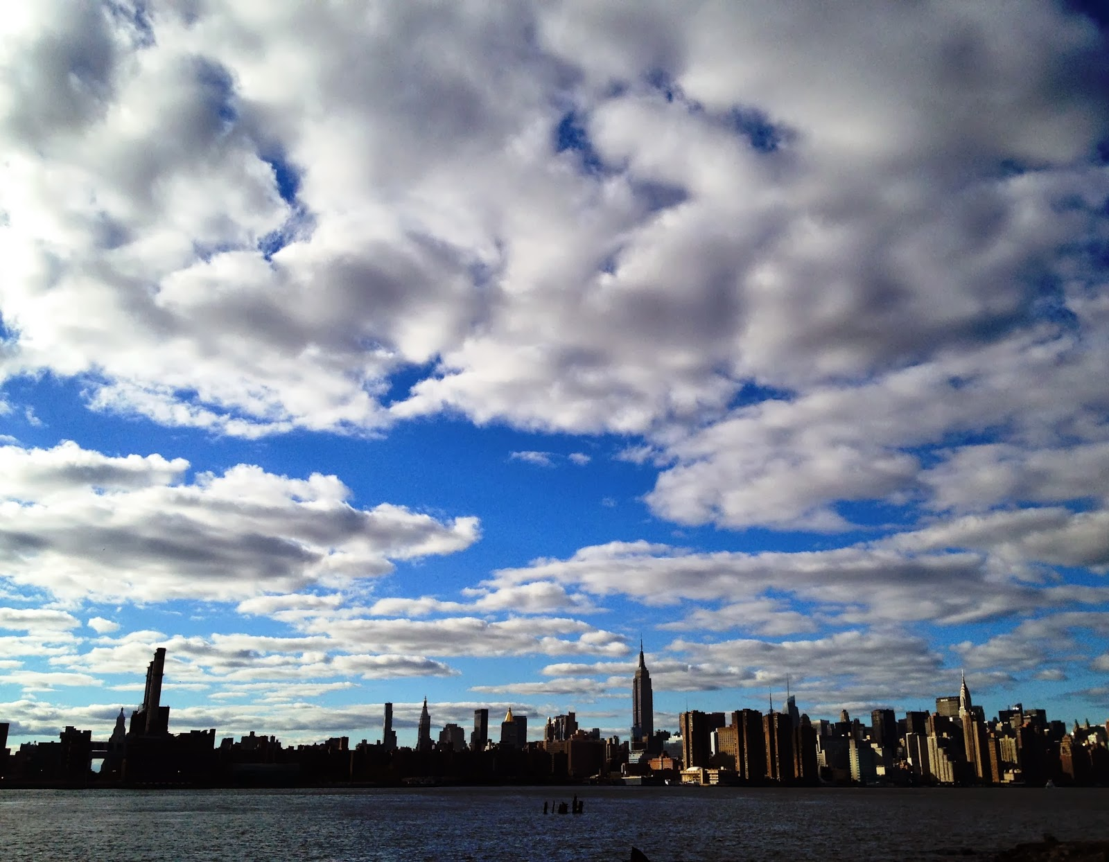 new york city skyline, nyc skyline, empire state building, empire state of mind, east river, nyc, beautiful clouds