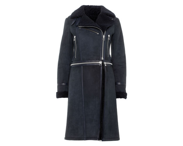 whistles sheepskin coat, navy sheepskin coat,