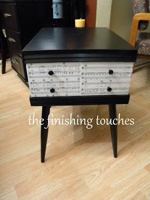 painted side table, painted furniture, mod podge
