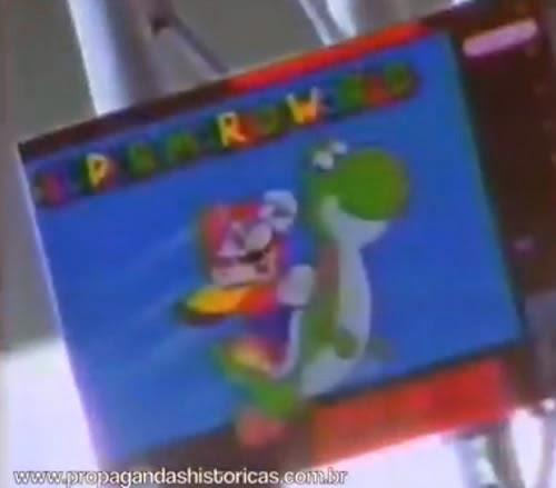 Propaganda do Super Nintendo em 1991, com destaque ao Super Mário.