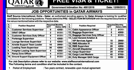 Job Opportunities In Qatar Airways Free Visa Ticket