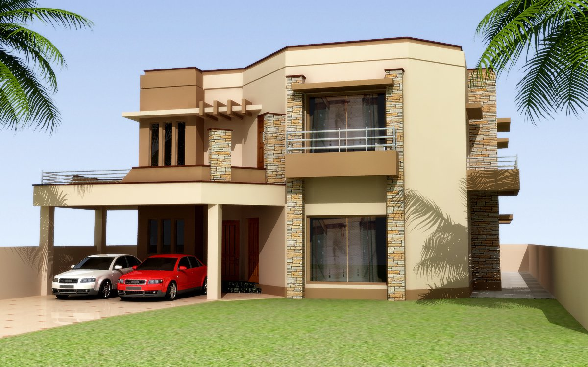 3d front elevation of house good decorating ideas for Front exterior home designs