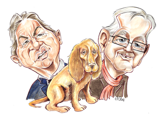 Caricatures réalisées au pinceau à encre de Chine de Mélenchon, Laurent et d'un cocker par Guillaume Néel pour le Journal Fakir