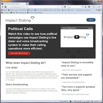 Screen shot of http://www.impactdialing.com/political-calls/.