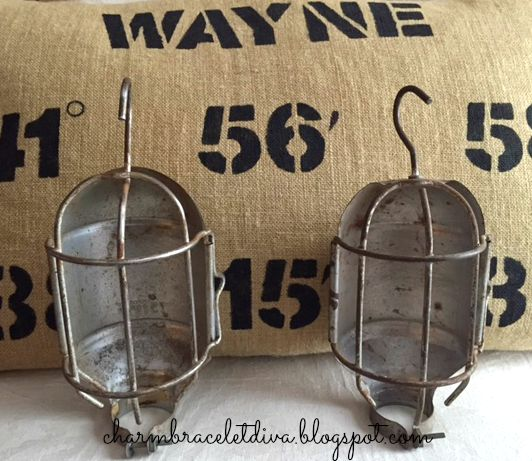 vintage industrial wire cage lamp