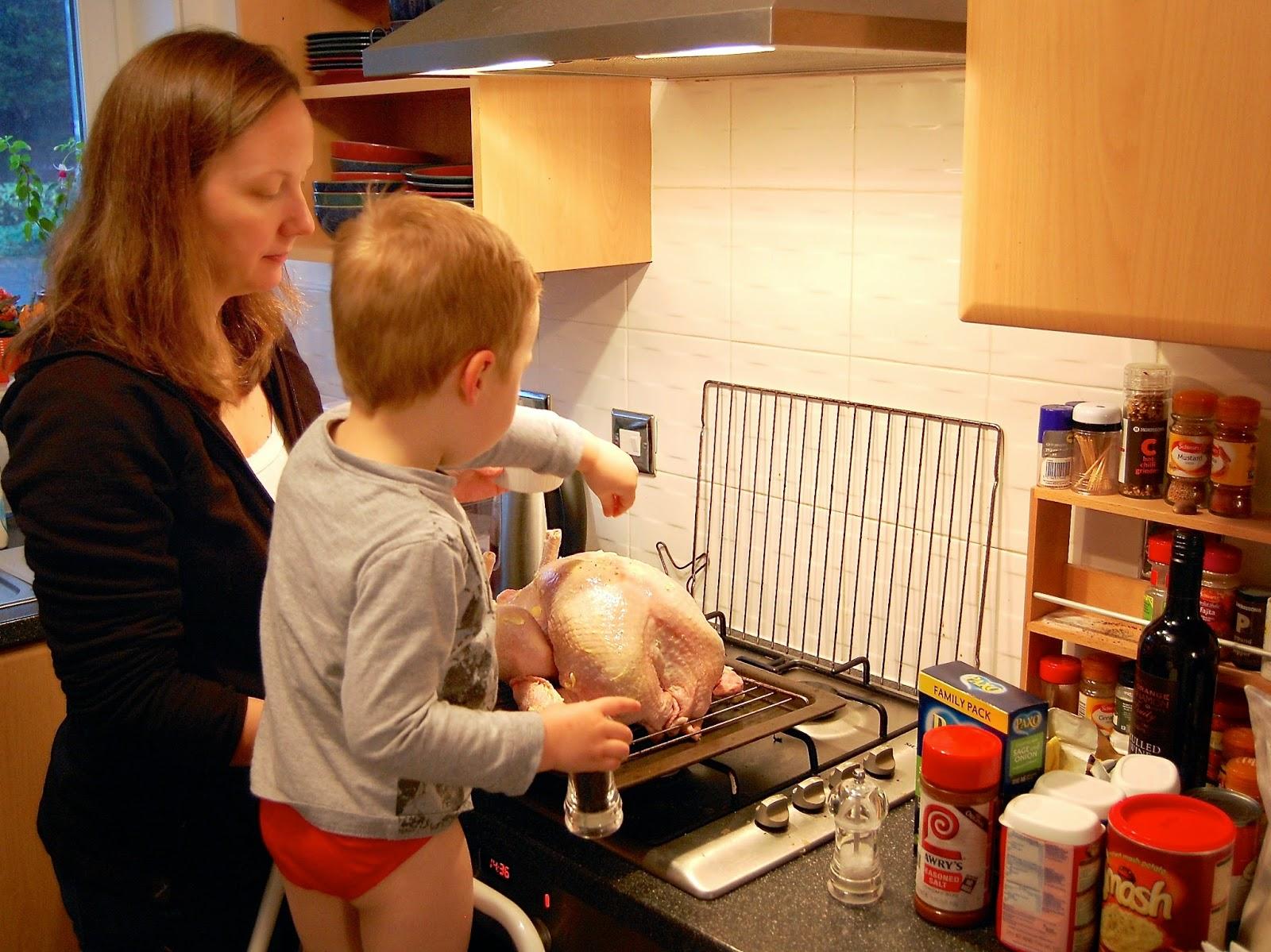 Seasoning the turkey