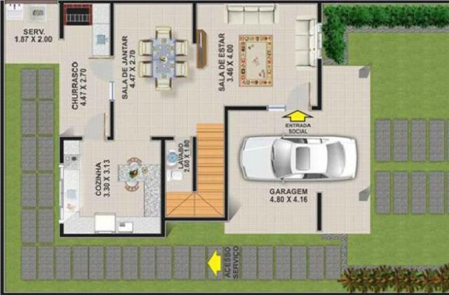 Plano de casa con tres dormitorios de 148 m2 planos de Planos de casas de 3 dormitorios
