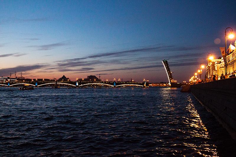 city lights river night Санкт-Петербург ночные огни развод мостов