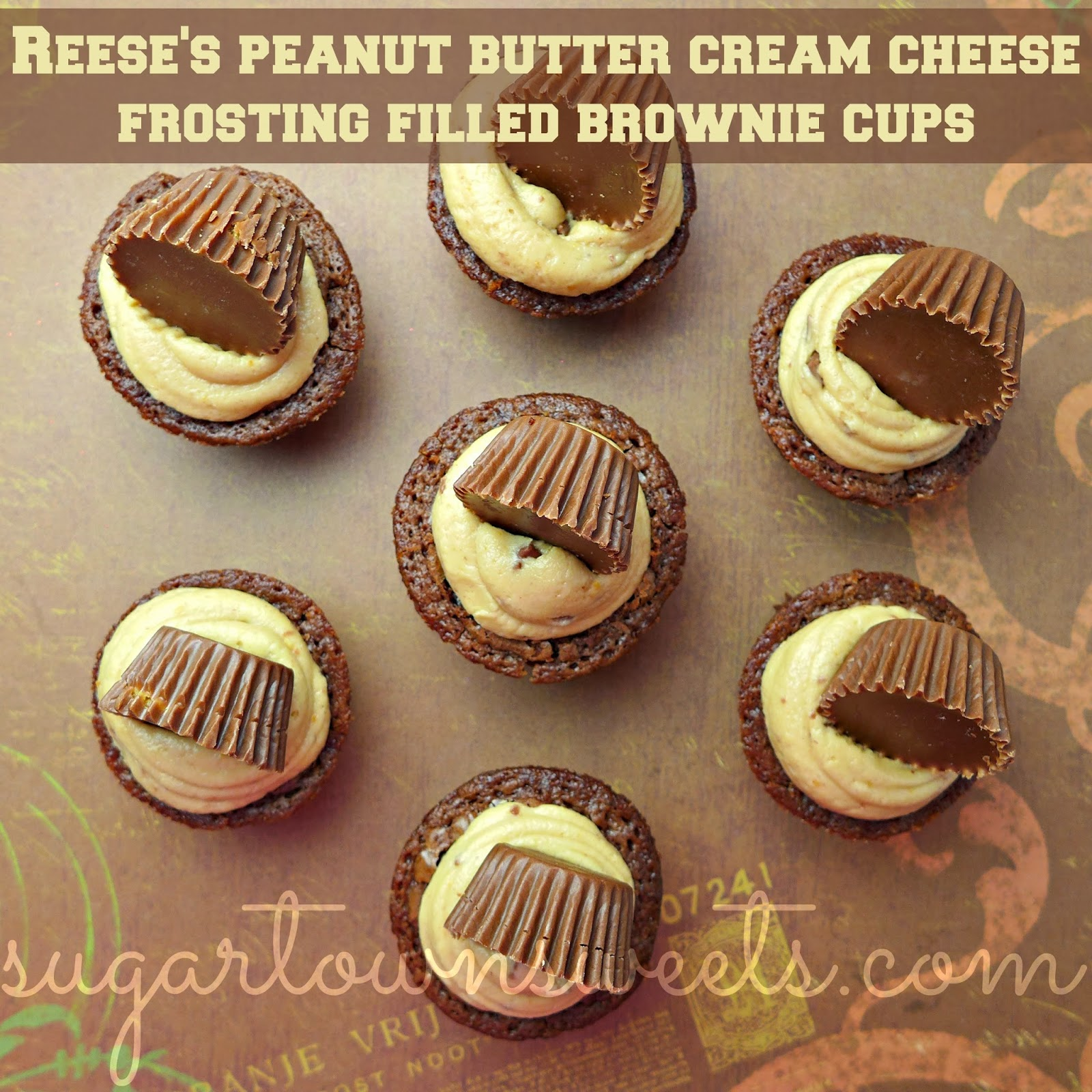 Reese's Peanut Butter Cream Cheese Frosting Filled Brownie Cups Recipe