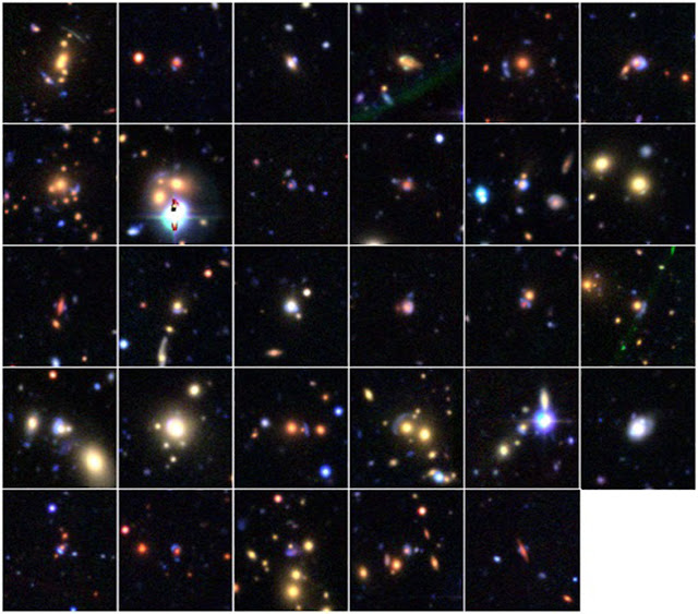 29 gravitational lens candidates found through Space Warps. Credit: Space Warps, Canada-France-Hawaii Telescope Legacy Survey