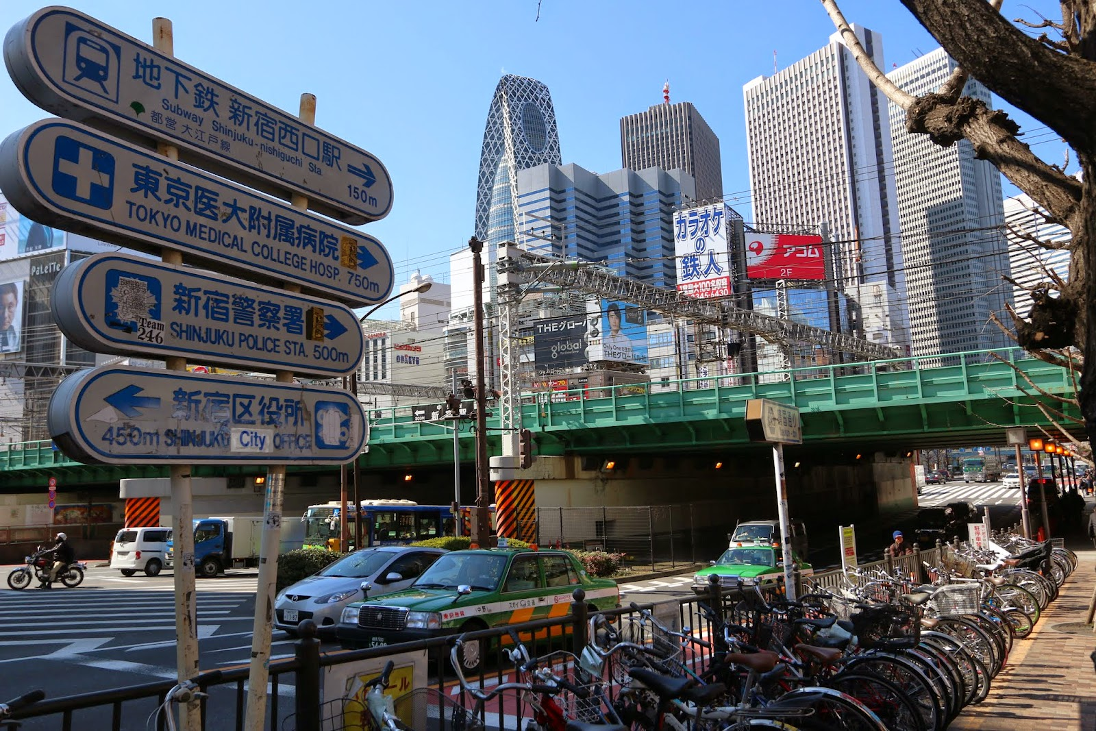 Standing at the border between Skyscraper District and Kabukicho of Shinjuku City in Tokyo, Japan