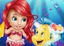 Baby Ariel mermaid is taking care of Flounder. You should help him to get him back on his fins. If you manage to take care of him you will then have to reunite him with Ariel as she is waiting past the fish puzzle game which you will have to cross. Have a great time customizing him afterwards and there will be only one step left as you will notice that he is in a really good shape, he can now start to collect the star fish but be careful not to hit the same rocks again because they hurt just the same.