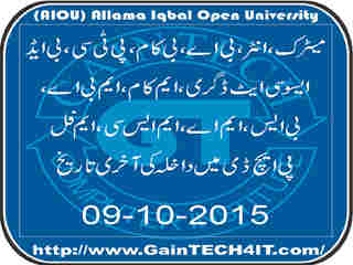 Admission Autumn 2015 AIOU