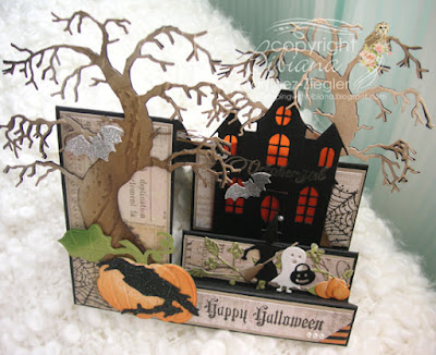Happy halloween side step card aerial view