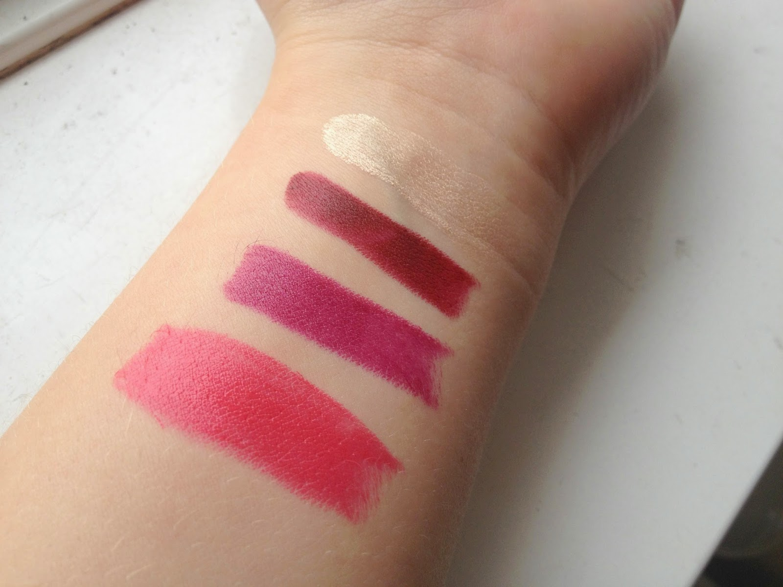 MAC Collection, MAC Lipsticks in Impassioned, Rebel and Diva, MAC Paintpot in Bare Study Swatches
