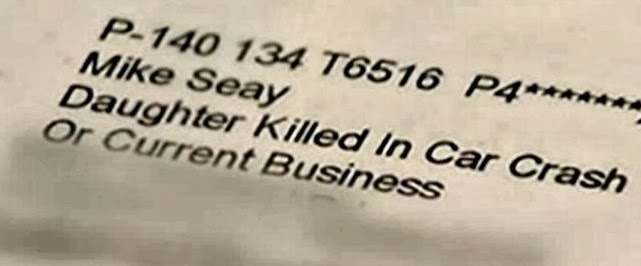 """OfficeMax Letter Address Block Addressed to """"Daughter Killed in Car Crash"""""""