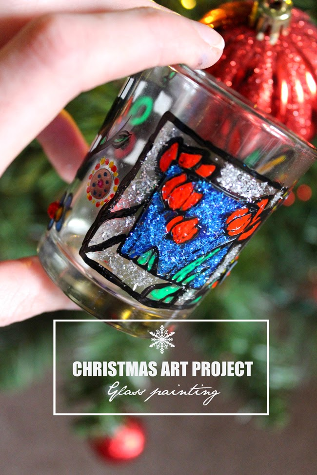 christmas art project, glass painting, christmas magic, todaymyway.com
