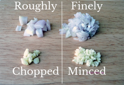 Roughly chopped vs finely minced shallot and garlic