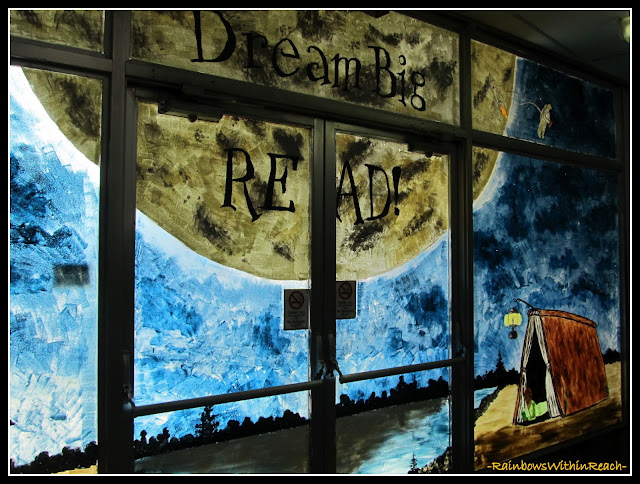 photo of: Library Painted Windows as Mural for Library Theme: Dream Big, READ!