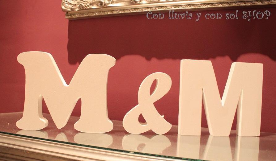Con lluvia y con sol letras decorativas para bodas - Letras decorativas pared ...