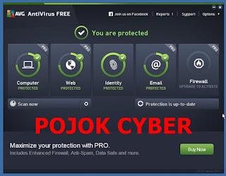 Tempilan jendela utama antivirus AVG