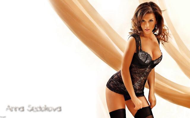 Anna Sedokova  sexy in black lingerie fashion