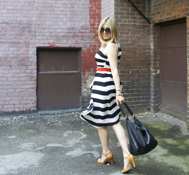 Old Navy stripe dress, Ecco Owen Sandals, ECCO hobo bag