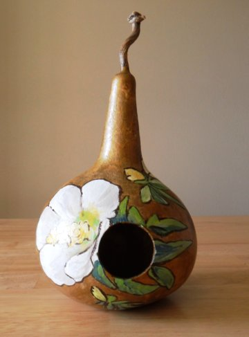 painted birdhouse gourd