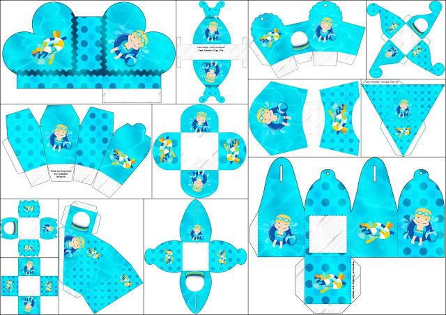 Fiesta en la piscina para ni o rubio cajas para imprimir for Piscinas para armar