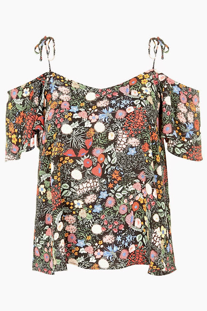 floral tie shoulder top
