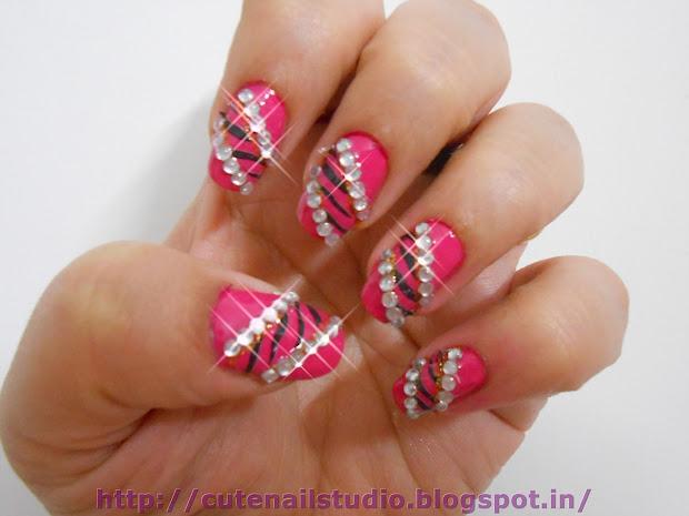 cute nails studded animal design