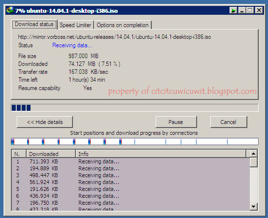 Kecepatan internet Telkom Speedy Paket Promo Multi Speed 1mbps test menggunakan idm