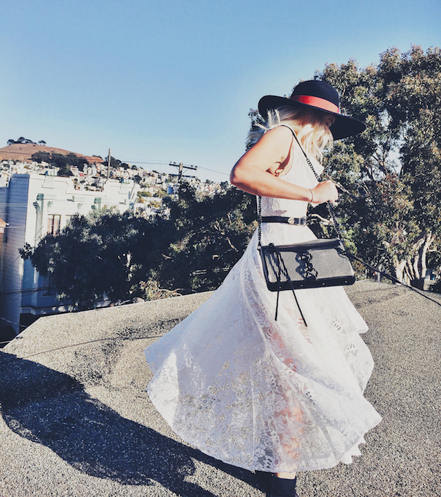 Singer Songwriter Music Playlists and Bohemian Fashion Style showcasing White Lace Lace-Up high low dress on Style Blogger Bryn Newman of Stone Fox Style